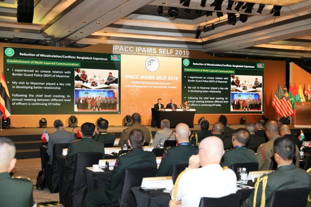 Senior army leaders from across the Indo-Pacific discuss topics such as border security, humanitarian assistance, multi-layered communication, and collaboration of land forces, during a combined plenary session, Sept. 9 - 11, 2019, in Bangkok, Thailand. The plenary session was part of the 11th Indo-Pacific Armies Chiefs Conference (IPACC XI), the 43rd Pacific Armies Management Seminar (IPAMS XLIII), and the 5th Senior Enlisted Leaders Forum (SELF V).IPACC/IPAMS/SELF are a series of Department of the Army and U.S. Army Pacific forums to build interpersonal relationships, foster multilateralism, dialogue, and cooperation for regional approaches to contemporary security challenges in the Indo-Pacific.