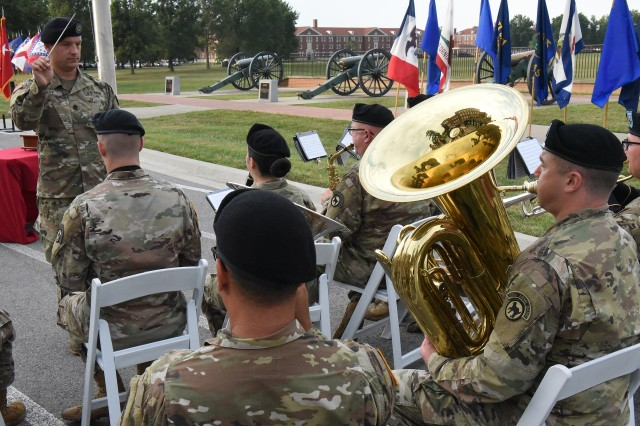 Members of the 100th Army Band perform the Army Song at the end of the Patriot Day ceremony, Sept. 11, 2019.