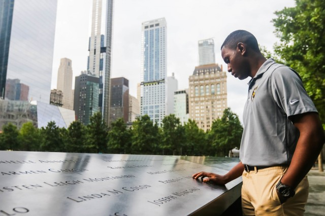 U.S. Military Academy Preparatory School Cadet Candidate William Sutton spends a moment reflecting after finding the name of a family member who died in the North Tower on Sept. 11, 2001. Sutton and the prep school's Class of 2021 visit to the 9/11 museum and memorial Tuesday on the school's annual visit to mark the anniversary of the terrorist attacks. (U.S. Army photo by Brandon O'Connor)