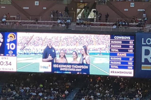 First Sgt. Edmund W. Thompson, assigned to U.S. Army Pacific - Support Unit, Headquarters and Headquarters Company, under the 9th Mission Support Command was chosen as one of three Veterans to be recognized at the Dallas Cowboys and Los Angeles Rams NFL preseason game at Aloha Stadium Saturday.