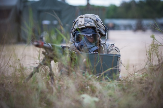 U.S. Army Reserve Spc. Brandon Hinkin, 596th Movement Control Team, watches for opposing forces (OPFOR) after a simulated attack on a Tactical Assembly Area (TAA) during Combat Support Training Exercise (CSTX) 86-19-04 at Fort McCoy, Wis., Aug. 20, 2019.  CSTX 86-19-04 is a Combat Support Training Exercise that ensures America's Army Reserve units and Soldiers are trained and ready to deploy and bring capable, combat-ready, and lethal firepower in support of the Army and our joint partners anywhere in the world. (U.S. Army Reserve photo by Spc. John Russell/86th Training Division)