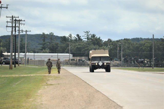 Service members at Fort McCoy, Wis., for training in the 86th Training Division's Combat Support Training Exercise (CSTX) 86-19-04 conduct operations Aug. 14, 2019 at the installation. The exercise included thousands of service members and coincided with other subordinate exercises taking place on post in August 2019, such as Global Medic and Patriot Warrior. (U.S. Army Photo by Scott T. Sturkol, Public Affairs Office, Fort McCoy, Wis.)