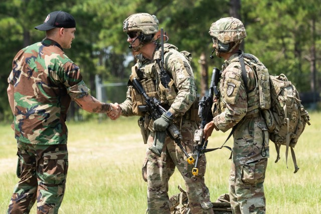 Advisors with 1st Security Force Assistance Brigade meet simulated international forces during the Advisor Forge training exercise Fort Benning, GA, August 13, 2019.  The exercise helps prepare Advisors for international relations and communications during worldwide employment opportunities. (U.S. Army photo by Pfc. Daniel J. Alkana/ 22 Mobile Public Affairs Detachment.)