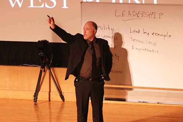 """Jackson Katz, whose TED Talk video, """"Violence Against Women-It's a Men's Issue,"""" discussed how victims blame themselves, but the reality is that violent behaviors are tied to unconscious definitions of manhood that must be challenged and redefined to stop normalizing perpetrator-like behaviors within society. Katz gave  cadets the opportunity to define what leadership should be during his visit."""
