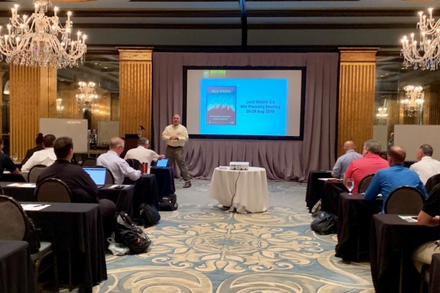 Lt. Col. Doug Fletcher, Critical Infrastructure Key Resources team for the Army Cyber Institute at West Point, explains the importance of Jack Voltaic to more than 70 personnel from public and private sectors from the cities of Savannah and Charleston.