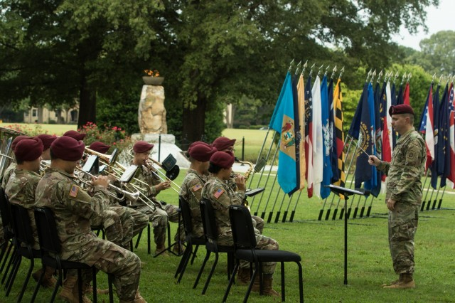 Soldiers with the 82nd Airborne Division Band perform during the Fort Bragg 9/11 Remembrance Ceremony on Fort Bragg, N.C. Sept. 11, 2019. The ceremony featured guest speakers Major Gen. Brian J. McKiernan, Deputy Commanding General, XVIII Airborne Corps, and Major Gen. Patrick B. Roberson, Commanding General, United States Army John F. Kennedy Special Warfare Center and School. (U.S. Army Photo by Pfc. Joshua Cowden / 22nd Mobile Public Affairs Detachment)