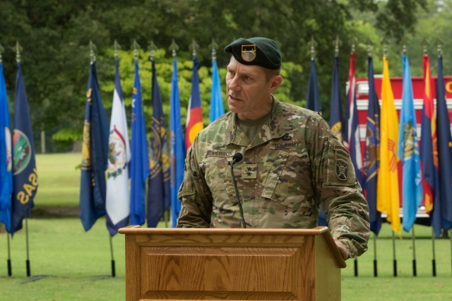 Major Gen. Patrick B. Roberson, Commanding General, United States Army John F. Kennedy Special Warfare Center and School, addresses the crowd during the Fort Bragg 9/11 Remembrance Ceremony on Fort Bragg, N.C. Sept. 11, 2019. The ceremony featured guest speakers, a firing party, a wreath laying ceremony and performances from The 82nd Airborne Division Band and the 82nd Airborne Division Chorus. (U.S. Army Photo by Pfc. Joshua Cowden / 22nd Mobile Public Affairs Detachment)