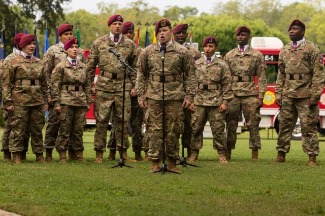 Soldiers with the 82nd Airborne Division Chorus perform during the Fort Bragg 9/11 Remembrance Ceremony on Fort Bragg, N.C. Sept. 11, 2019. The ceremony highlighted both U.S. Army Soldiers and United States first responders who participated and were affected by the terror attacks on Sept. 11, 2001. (U.S. Army Photo by Pfc. Joshua Cowden / 22nd Mobile Public Affairs Detachment)