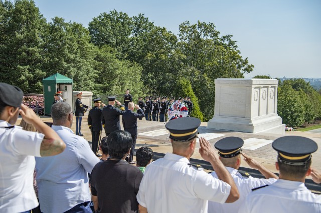 (From left to right, center) U.S. Army Maj. Gen. Omar Jones IV, commanding general, U.S. Army Military District of Washington; David Povlitz, chief, Arlington County Fire Department; and James Schwartz, former chief, Arlington County Fire Department; render honors during an Army Honors Wreath-Laying Ceremony at the Tomb of the Unknown Soldier at Arlington National Cemetery, Arlington, Virginia, Sept. 11, 2019. ACFD, led by Schwartz, was the lead agency in response to the Pentagon attack on 9/11. (U.S. Army photo by Elizabeth Fraser / Arlington National Cemetery / released)