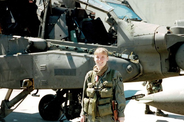 Leslie Herlick was the first female warrant officer in her battalion after being assigned to 2nd Battalion, 101st Aviation Regiment, 101st Airborne Division (Air Assault). She went to flight school after the ban against women flying combat helicopters was lifted 26 years ago.