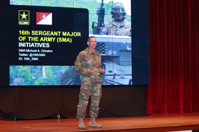 """FORT BENNING, Ga. -- Sergeant Major of the Army Michael Grinston talks to Army leaders during the third and final day of the Maneuver Warfighter Conference here Sept. 12. The Maneuver Warfighter Conference is an annual event hosted by the Maneuver Center of Excellence, that gathers senior leaders and subject matter experts from across the Army, sister services and from partner nations' militaries to elaborate upon and discuss issues relevant to the Army's maneuver force. The theme of this year's conference is """"The Brigade Combat Team: Readying for Large Scale Combat Operations."""" (U.S. Army photo by Markeith Horace, Maneuver Center of Excellence, Fort Benning Public Affairs Office)"""