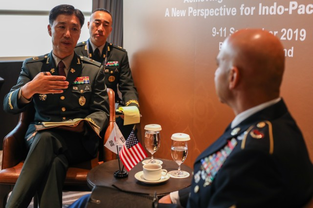Command Sgt. Maj. Benjamin Jones, CSM, USARPAC conducts a bilateral meeting with Sgt. Maj. of the Army ChaeSik Kim, Republic of Korea Army during the Senior Enlisted Leadership Forum held in Bangkok Thailand 9-11 September 2019. IPACC/IPAMS/SELF are a series of Department of the Army and U.S. Army Pacific forums to build interpersonal relationships and foster multilateralism, dialogue, and cooperation for regional approaches to contemporary security challenges in the Indo-Pacific. Photo by Sgt. Major Jason B. Baker, U.S. Army Pacific