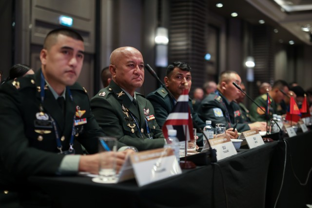 Senior enlisted leaders representing 20 countries from around the Indo-Pacific region listen to a plenary discusion during the Senior Enlisted Leadership Forum held in Bangkok Thailand 9-11 September 2019. IPACC/IPAMS/SELF are a series of Department of the Army and U.S. Army Pacific forums to build interpersonal relationships and foster multilateralism, dialogue, and cooperation for regional approaches to contemporary security challenges in the Indo-Pacific.
