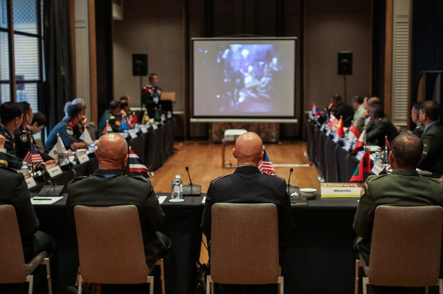 Senior enlisted leaders representing 20 countries from around the Indo-Pacific region participate in a breakout discussion on leader development during the Senior Enlisted Leadership Forum held in Bangkok Thailand 9-11 September 2019. IPACC/IPAMS/SELF are a series of Department of the Army and U.S. Army Pacific forums to build interpersonal relationships and foster multilateralism, dialogue, and cooperation for regional approaches to contemporary security challenges in the Indo-Pacific.