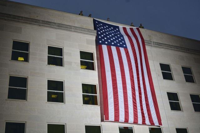 Flag unfurled at Pentagon