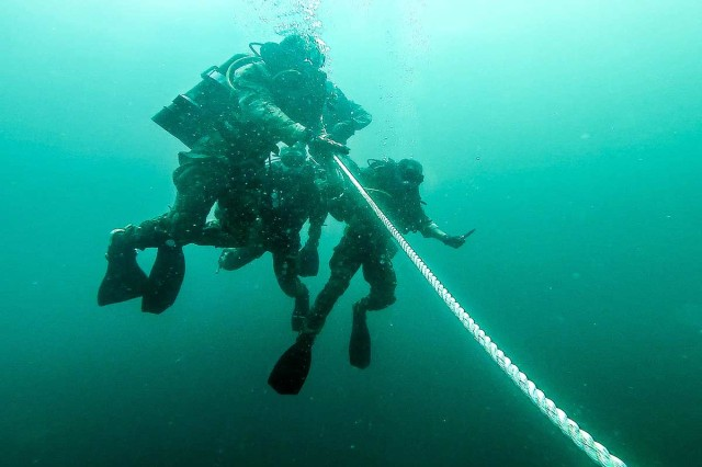 Green Berets assigned to 3rd Special Group (Airborne), conduct an open circuit dive, Aug. 21, 2019, near Destin, Fla. The Special Operations Soldiers participated in the dive to remain proficient in one of the many high-risk duties performed by Green Berets across the force.