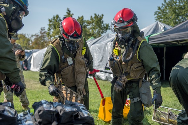 Soldiers assigned to the 911th Technical Rescue Engineer Company conduct casualty rescue training in a mock collapsed building during this year's Capital Shield Exercise in Fairfax County, Virginia, September 4, 2019. Capital Shield is an annual training exercise hosted by Joint Force Headquarters -- National Capital Region, in which Department of Defense, federal, and interagency partners train to respond to various contingency operations and employ appropriate force protection measures as needed, in order to maintain combined readiness in the event of an actual disaster in the NCR.