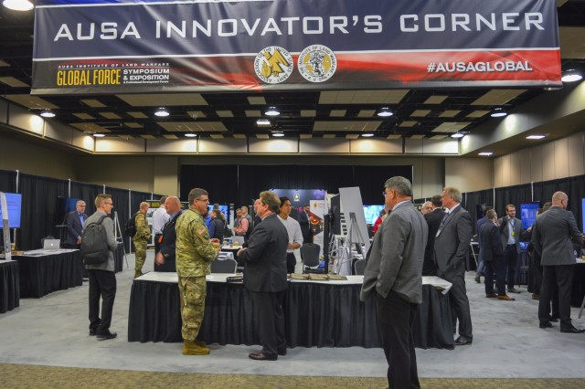 Innovator's Corner at the 2019 AUSA Global Force Symposium and Exposition in the Von Braun Center at Huntsville, Alabama. (Photo by Patricia Riippa, Booz Allen Hamilton, supporting CCDC - ARL)