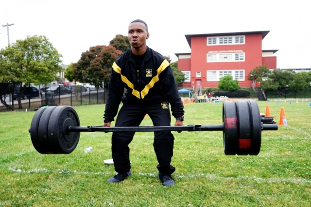 Sgt. Steven J. Clough, battalion medical liaison with the 223rd Military Intelligence Battalion, performs a deadlift during an Army Combat Fitness Test in San Francisco, Calif., July 21, 2019. Clough, who serves as a master fitness trainer for the battalion and is a level three certified grader for the ACFT, has been helping prepare the battalion for the new test.