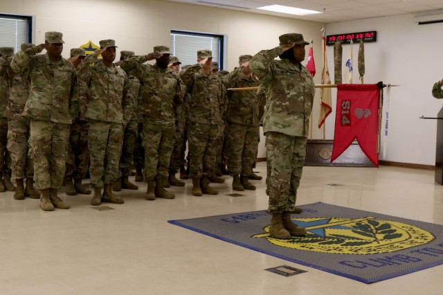 Soldiers from the 10th Mountain Division, 10th Sustainment Brigade, 548th Combat Sustainment Support Battalion, 514th Support Maintenance Company case their colors in preparation for an upcoming deployment in support of Operation Inherent Resolve Sep. 13, 2019, on Fort Drum, NY. (U.S. Army photo by Sgt. Brandon Cox)