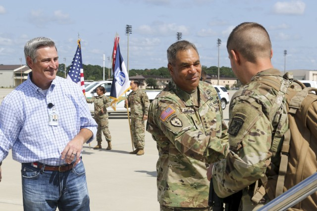 Senator Kirk Deviere, (N.C., 19th District) and Gen. Michael X. Garrett, commander, U.S. Army Forces Command, greet Soldiers from the XVIII Airborne Corps on Pope Field, Fort Bragg, N.C.  as they return home from at 12-month deployment to Iraq and Kuwait as the headquarters element of Combined Joint Task Force Operation Inherent Resolve. (U.S. Army photo by Pfc. Daniel J. Alkana, 22nd Mobile Public Affairs Detachment).