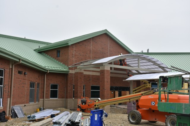 Constructing the entrance canopy of the new West Point Elementary School. Credit: Dan Desmet, Public Affairs.