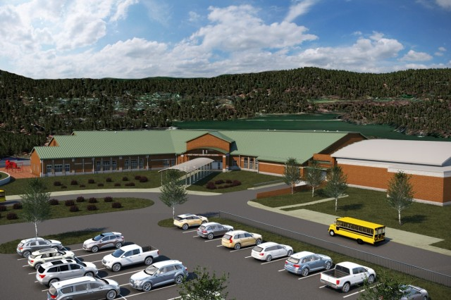 Renderings of the front and back of the new West Point Elementary School. This is what the completed school will look like in 2020. Credit: DoDEA.
