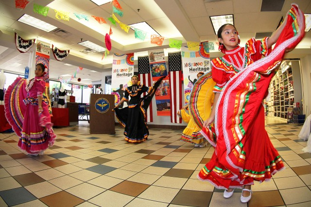 Dancers perform at the Fort Rucker Hispanic Heritage Month kickoff event Sept. 13 at the main exchange food court. The event featured music and dance performances, cultural and educational displays, and a free food tasting.