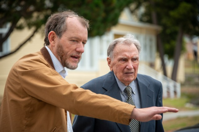 Command Historian Cameron Binkley gives Alfred Loikits a tour of the Presidio of Monterey. While in the Army during World War II, Loikits translated the testimony of Nazi war criminals during the Nuremburg trials.