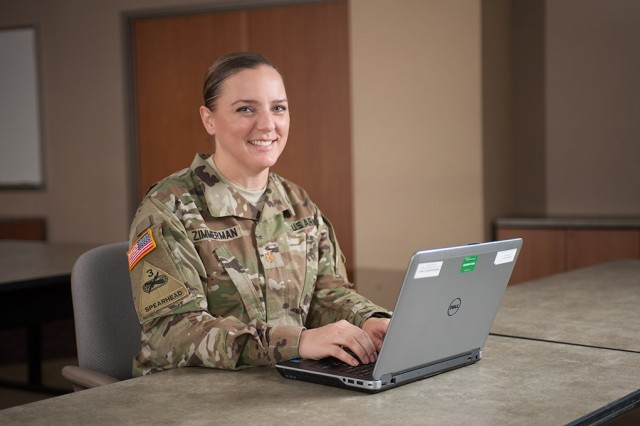 """Maj. Sherri Zimmerman, Integrated Personnel and Pay System - Army, Requirements and Data Branch lead, is helping the Army create a centralized human resources system. """"As an S-1, you're accessing multiple databases and the data never transfers from one system to another and gives you the same results…We needed a better way to organize information in the Army."""""""