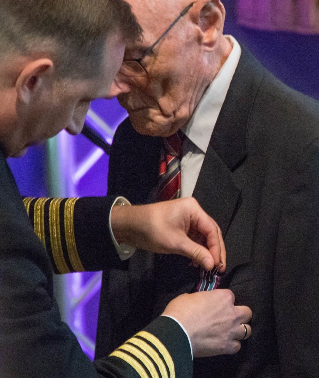 WWII Dutch civilian volunteer receives the Civilian Award for Humanitarian Service medal