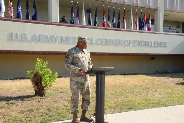 Maj. Gen. Patrick D. Sargent, commander, MEDCoE, speaking at the redesignation ceremony.