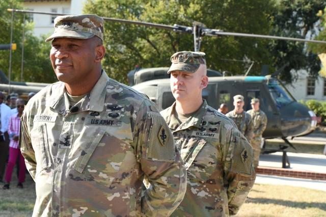 """Maj. Gen. Patrick D. Sargent, commander, MEDCoE, and Cmd. Sgt. Maj. William """"Buck"""" O'Neal, command sergeant major, MEDCoE."""
