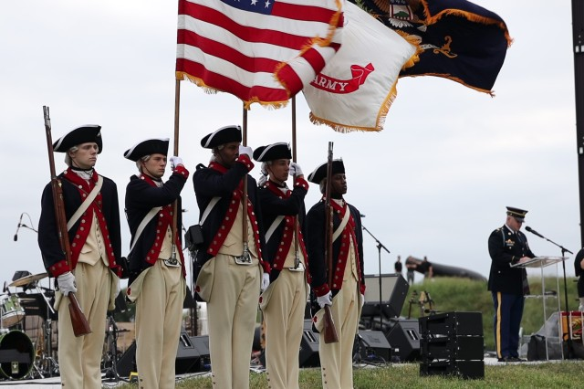 Soldiers from the Continental Color Guard, the 3d U.S. Infantry Regiment (The Old Guard), participate during Defenders' Day, Baltimore's oldest holiday, at Fort McHenry National Monument and Historic Shrine, September 14, 2019. During the historic and commemorative celebration, 25 outstanding young Americans took the U.S. Army oath of enlistment, administered by Maj. Gen. Omar J. Jones IV, commanding general, Joint Force Headquarters - National Capital Region and the U.S. Army Military District of Washington.