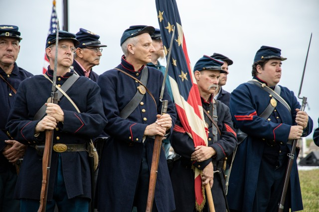 Reenactors participate during Defenders' Day, Baltimore's oldest holiday, at Fort McHenry National Monument and Historic Shrine, September 14, 2019. During the historic and commemorative celebration, 25 outstanding young Americans took the U.S. Army oath of enlistment, administered by Maj. Gen. Omar J. Jones IV, commanding general, Joint Force Headquarters - National Capital Region and the U.S. Army Military District of Washington.