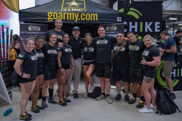 Members of the U.S. Army Warrior Fitness Team attended the 2019 CrossFit Games to support their teammates, Capt. Chandler Smith and Lt. Col. Anthony Kurz, participating in the event. During their visit, the team engaged with the fitness community to share the Army's story. In the photo, from left to right: Capt. Deanna Clegg, Capt. Kaci Clark, Capt. Allison Brager, 1st Sgt. Glenn Grabs, Capt. Ashley Shepard, Command Sgt. Major. Jan Vermeulen, Capt. Rachel Schreiber, Staff Sgt. Neil French, Spc. Jacob Pfaff, Sgt. 1st Class Carlos Zayas, Staff Sgt. Gabriele Burgholzer.