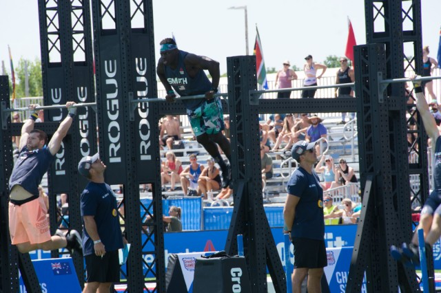 Capt. Chandler Smith, Army Warrior Fitness Team, competes in the men's individual competition at the 2019 CrossFit Games in Madison, Wis., Aug. 1, 2019.