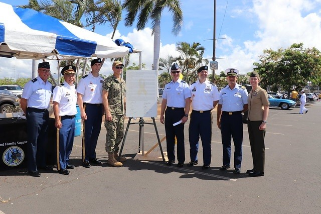 All service commanders on Hawaii's island of Oahu, including the Coast Guard, gather for a photo by the 2019 Suicide Prevention Proclamation. U.S. Army Garrison Hawaii's commander, Col. Thomas Barrett, is standing third from right.