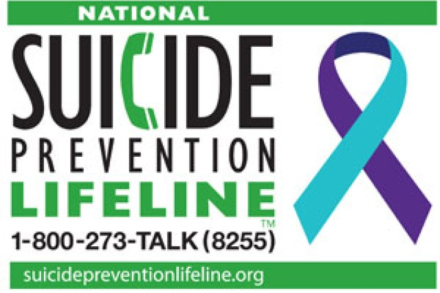 Visit the Defense Suicide Prevention Office at https://www.dspo.mil/ or the Army Suicide Prevention Program at https://www.armyg1.army.mil/hr/suicide/ if you have thoughts about suicide. Call the Military or Veterans Crisis Line at 1-800-273-8255 and press 1. Call the National Suicide Prevention Lifeline at 1-800-273-TALK (8255).