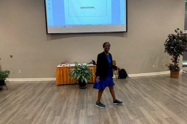 Mrs. Roberta Berry takes questions  about military spouse employment from Cadre at the 2019 Family Readiness and Training seminar at Fort Belvoir August 8, 2019. (Photo Courtesy WCT Career Education and Readiness