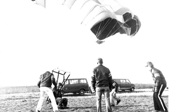 Jeff Williams lands a parachute jump while a member of the West Point parachute team, circa 1979 or 1980.