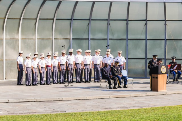 The U.S. Military Academy at West Point held a 9/11 remembrance ceremony at Trophy Point to pay tribute to those who have fallen and to remember what happened on that fateful day 18 years go on September 11, 2018.  The guest speaker was retired Sgt. 1st Class Tarnish Pride, who was in the Pentagon at the time of the attack. (U.S. Army photo by Brandon O'Connor)