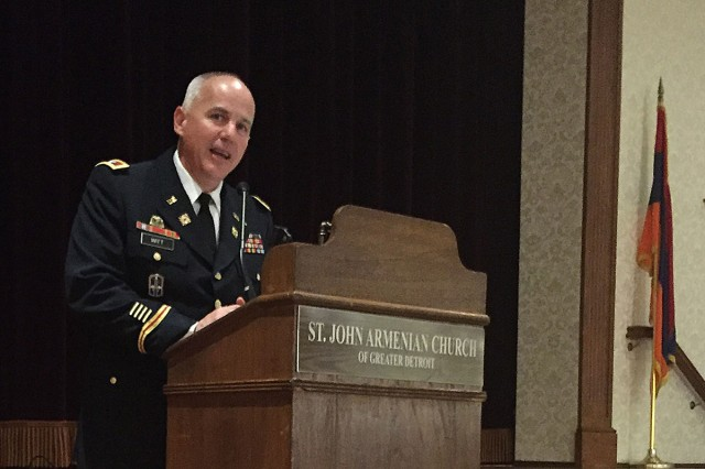 On Wednesday, Sept. 11, 2019, Col. Jeffrey Witt, U.S. Army Tank-automotive and Armaments Command Chief of Staff, gave a very personal speech in commemoration of Patriot Day at St. John Armenian Church in Southfield, Michigan.