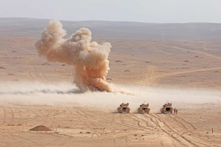 Soldiers with 3rd Armored Brigade Combat Team, 4th Infantry Division, practice detonating Bangalore torpedoes during Eager Lion in Jordan, Aug. 29, 2019. Eager Lion, U.S. Central Command's largest and most complex exercise, is an opportunity to integrate forces in a multilateral environment, operate in realistic terrain and strengthen military-to-military relationships.