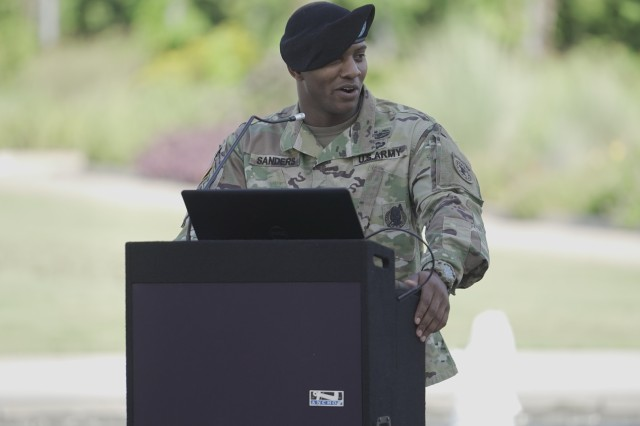 Capt. Ryan Sanders, outgoing commander, Houston Medical Recruiting Company, provides remarks during the Houston Medical Recruiting Company change of command ceremony, at Hermann Park Conservancy, Houston, Texas, Sept. 5.