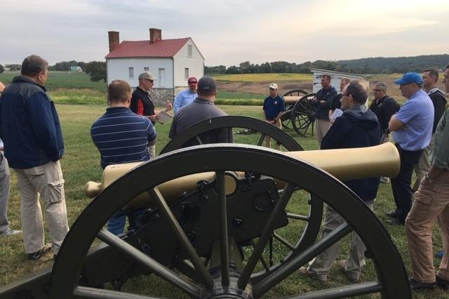 Dr. Christopher Stowe provides battlefield insights to Army historians and museum professionals at Antietam during the Center of Military History Staff Ride workshop on September 17th, 2019