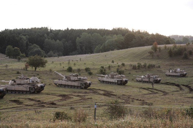 Battle Group Poland U.S. M1 Abrams dot the Polish countryside during the Bull Run 10 exercise in Orzysz, Poland, Sept. 19.