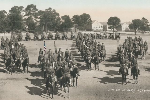 A photo dating to 1930 at Soldier Field on the Presidio of Monterey, today's legal office can be seen in the background with flower pots.