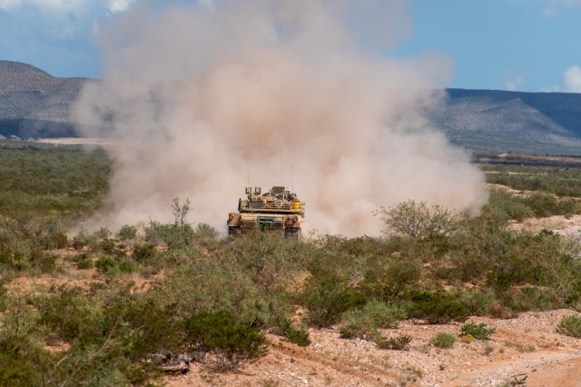 U.S. Soldiers with Delta Troop, 1-150th Cavalry Regiment, 30th Armored Brigade Combat Team, North Carolina Army National Guard, conduct a Combined Arms Live-Fire Exercise (CALFX) in the vicinity of Fort Bliss, Texas, Sept. 20, 2019. The unit is mobilized to support Operation Spartan Shield in the Middle East with units from the North Carolina, South Carolina, West Virginia and Ohio Army National Guard.