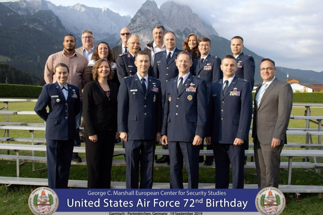 "GARMISCH-PARTENKIRCHEN, Germany -- The 23 active-duty and former airmen stationed at the George C. Marshall European Center for Security Studies held a ""Frontiers of Blue…This is 72!"" celebration for the 72nd Birthday of the U.S. Air Force here Sept. 19. . (DOD photo by U.S. Army Master Sgt. Corey Dennis/RELEASED)"